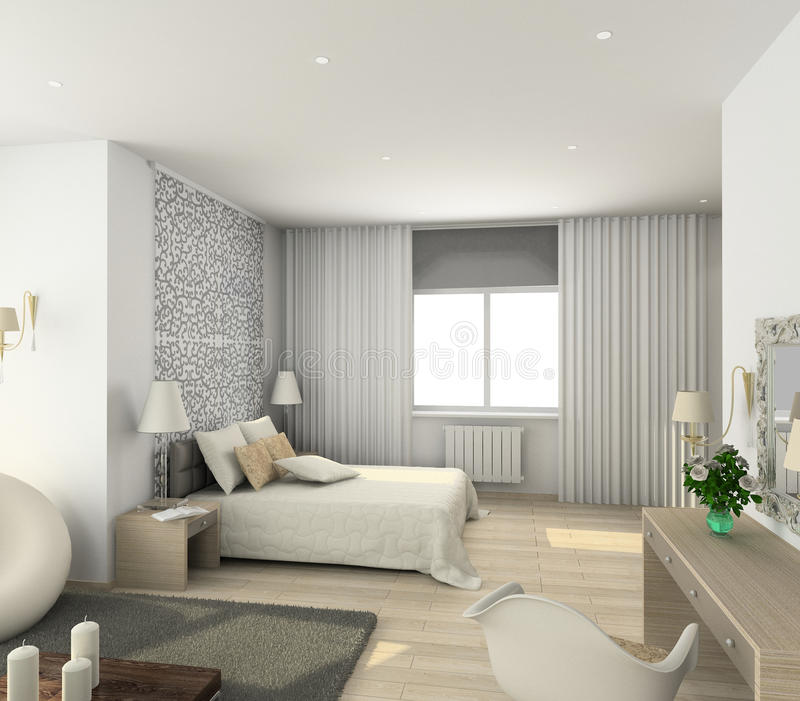 Modern interior. 3D render. Iinterior of modern bedroom. 3D render royalty free illustration