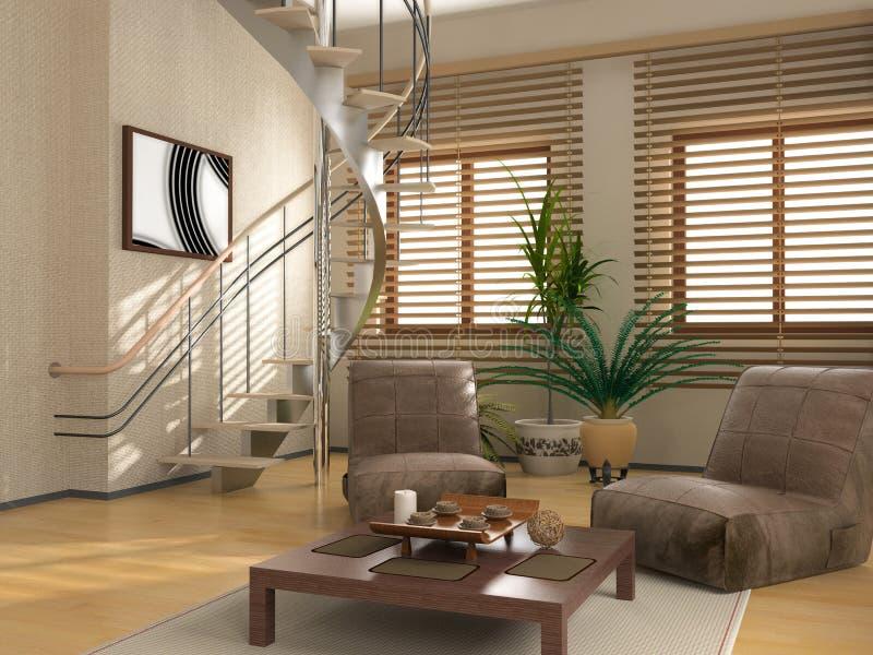 Modern interior. (3 D rendering