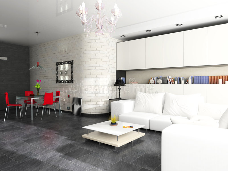 Modern interior. Of a drawing room with a white sofa stock photo