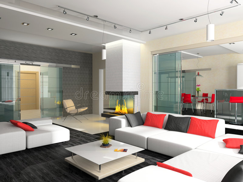 Modern interior. Of a drawing room with upholstered furniture and a fireplace vector illustration