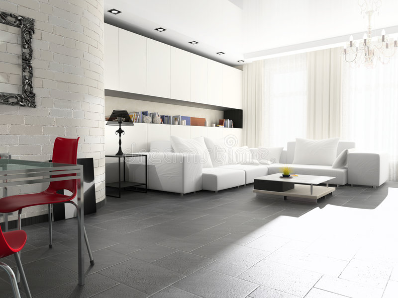 Modern interior. Of a drawing room with a white sofa vector illustration