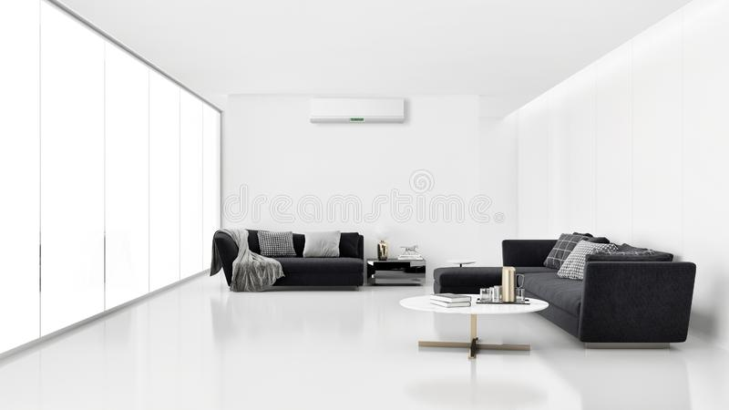 Modern interior apartment with air conditioning and remote control 3D rendering illustration stock images