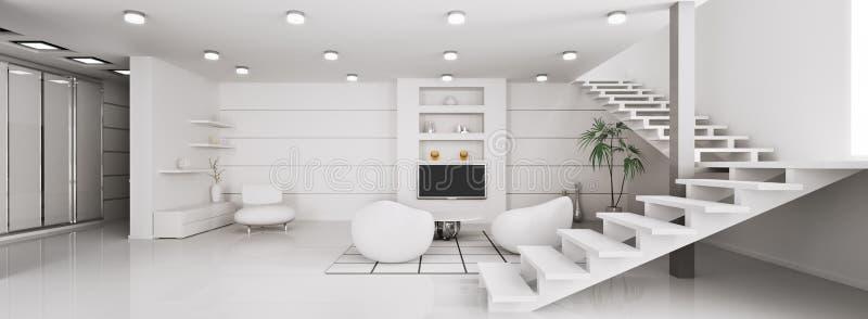Modern interior of apartment panorama 3d render royalty free illustration