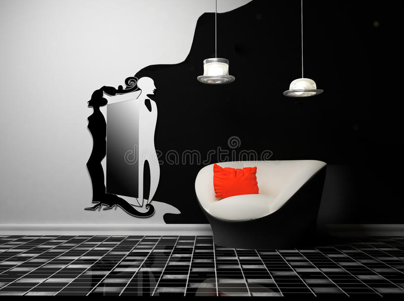 Download A Modern Interior With An Armchair And A Mirror Stock Illustration - Image: 18527726