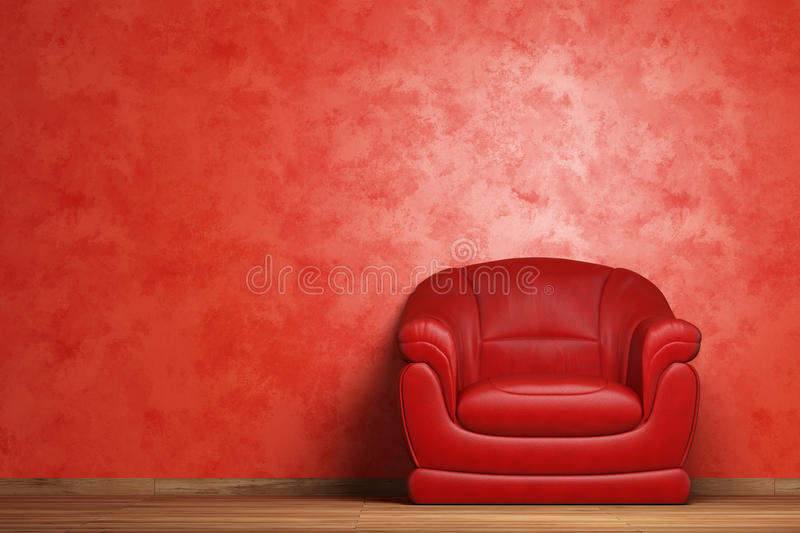 Modern interior with armchair. Modern interior with a red armchair vector illustration