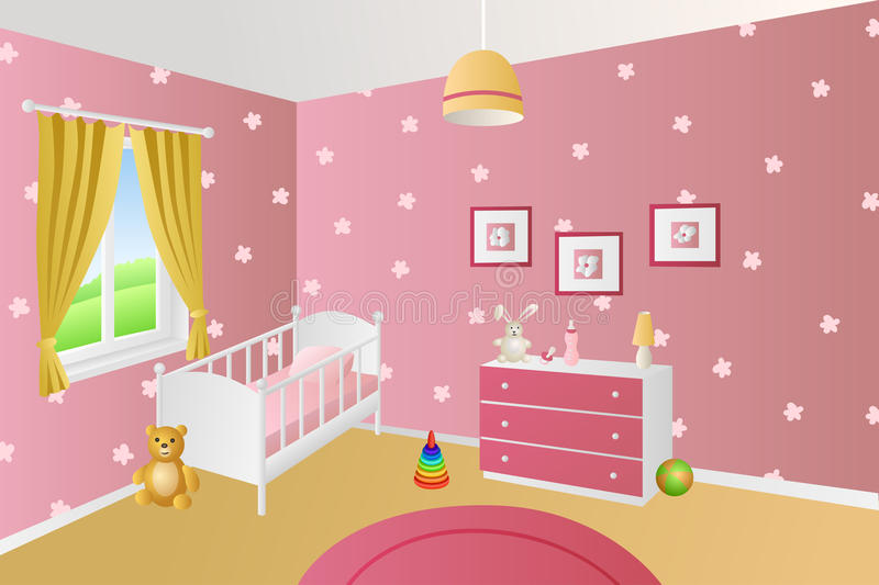 Modern interior baby room pink toys white bed window illustration. Vector royalty free illustration
