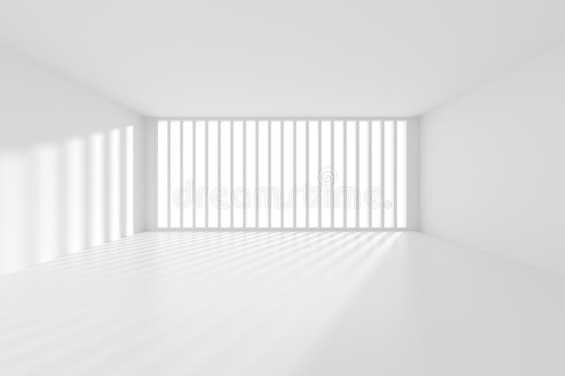 Modern Interior Background. 3d Rendering of Modern Interior Background. White Empty Room with Window. Abstract Architecture Design vector illustration