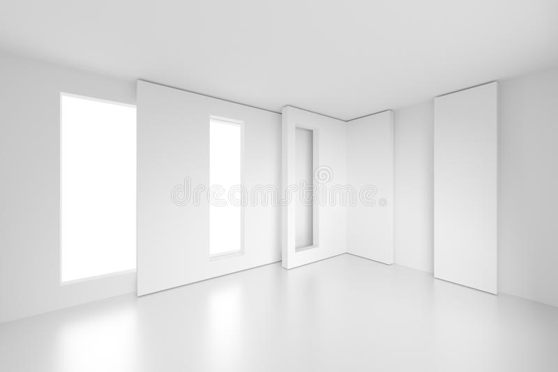Modern Interior Background. 3d Rendering of Modern Interior Background. White Empty Room with Window. Abstract Architecture Design stock illustration