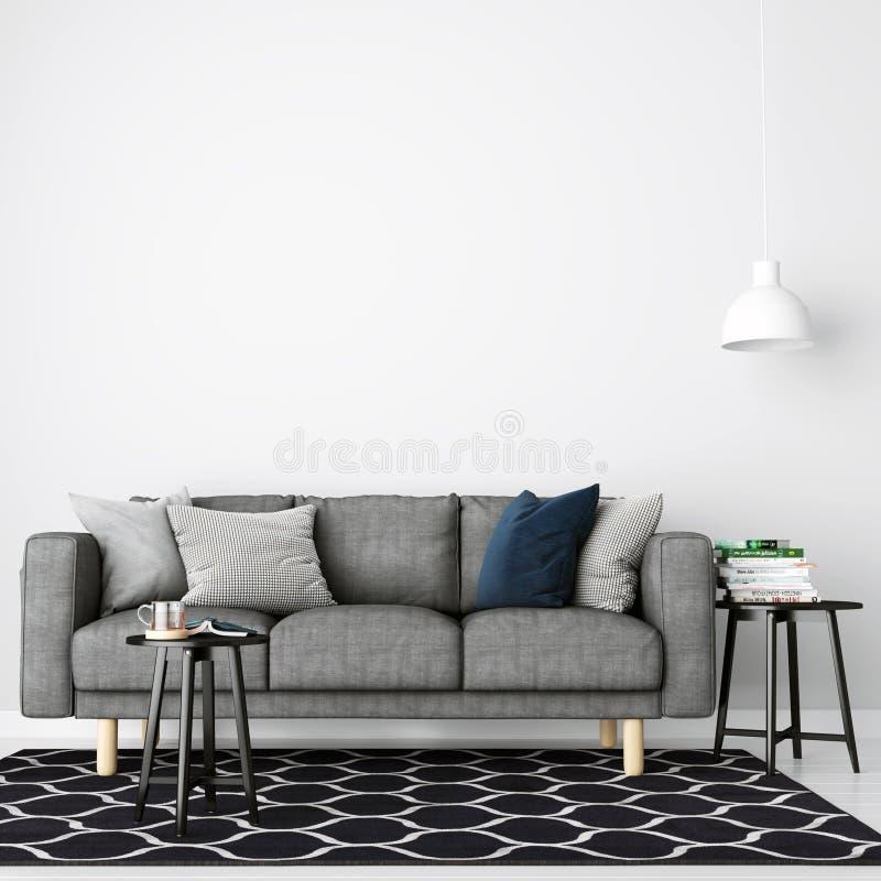 Modern Interior Background, Wall Mockup - 3d Render royalty free illustration