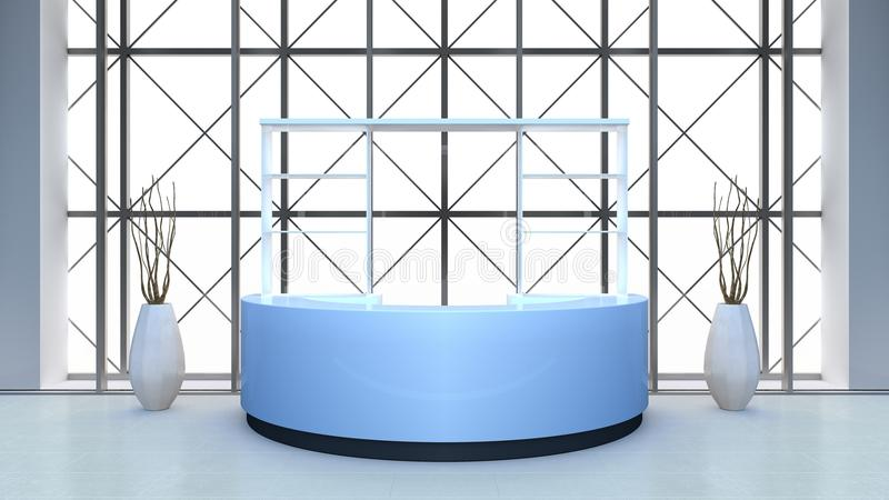 Modern interior with bar counter. 3D rendering. stock photography