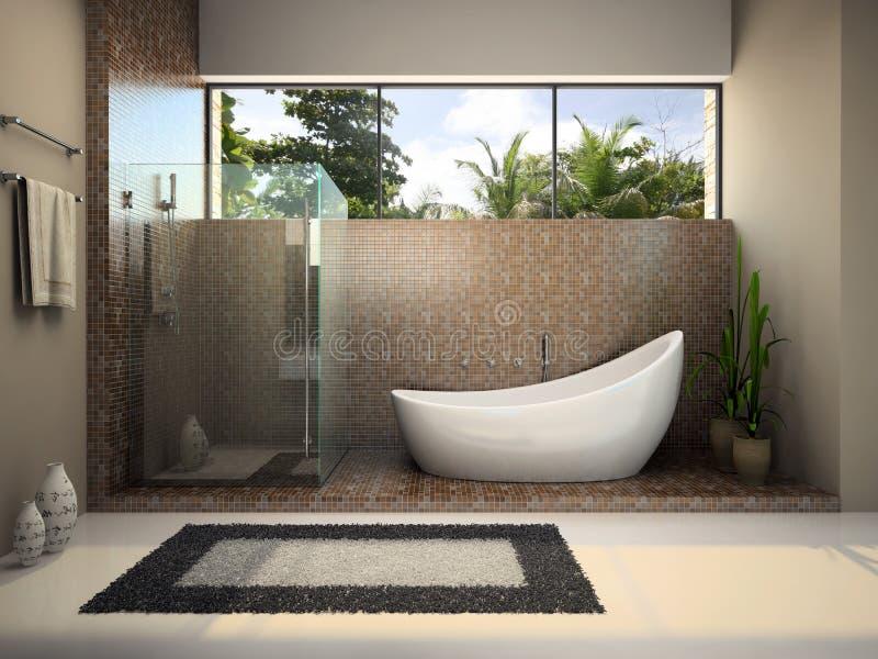 Modern interior of the bathroom royalty free illustration
