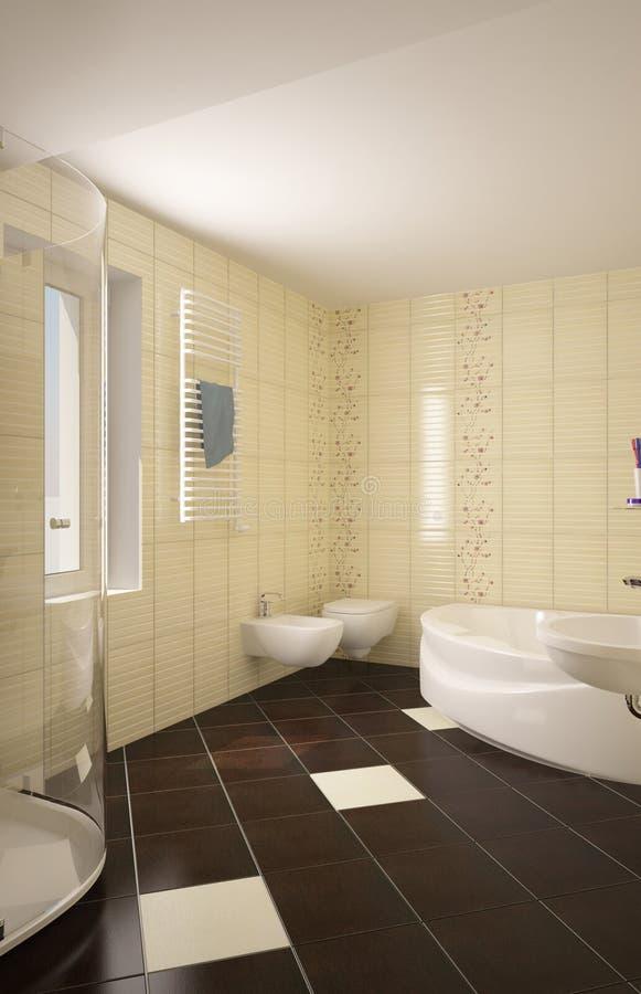 Modern interior of bathroom stock illustration