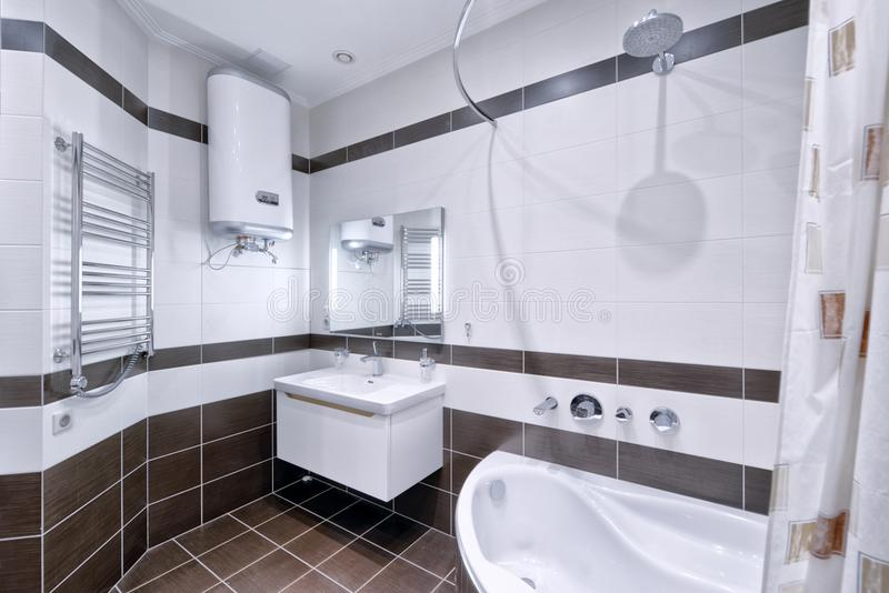 Modern interior of the bathroom in the new house. royalty free stock photography