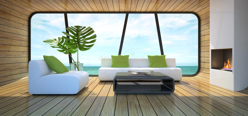 Modern interior of the beach house vector illustration