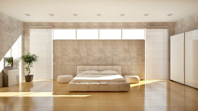 Modern interior of a bedroom royalty free illustration