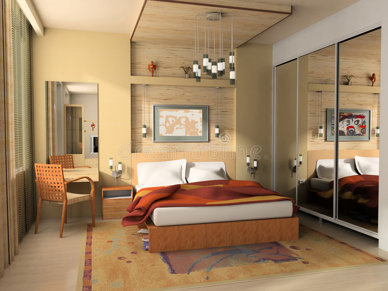 Modern interior of a bedroom stock images