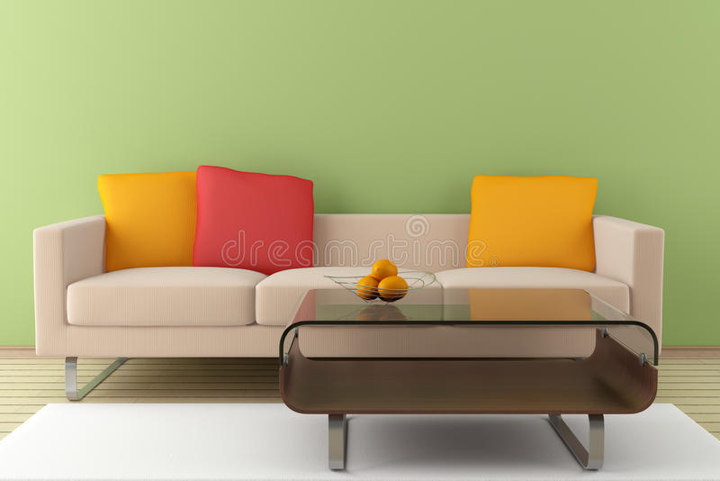 Modern interior with beige sofa. And table in front of green wall stock illustration