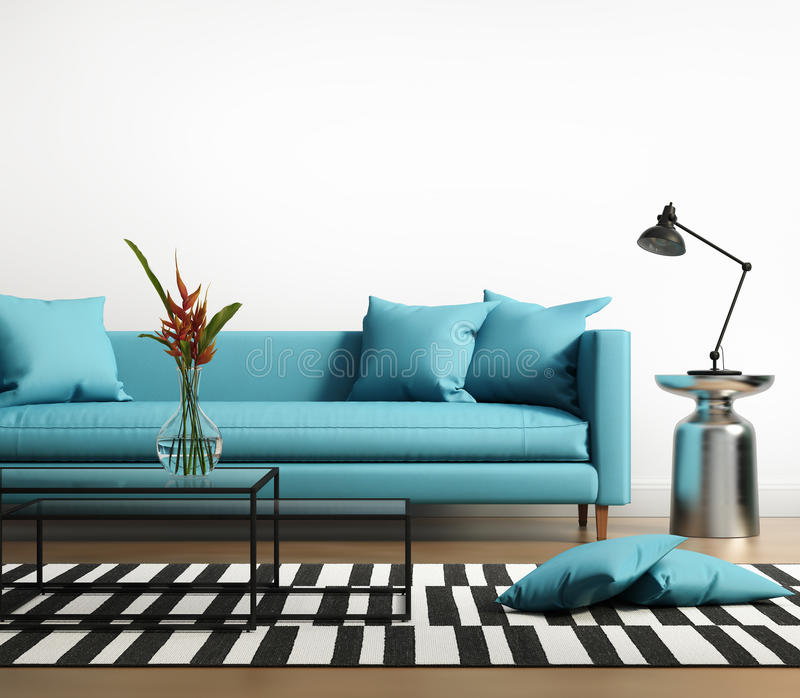 Modern interior with a blue turqoise sofa in the living room. Modern interior with a blue turqoise sofa and striped rug in the living room