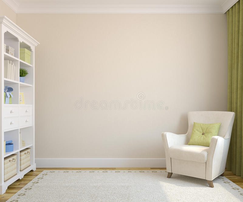 Modern interior. Modern interior with bookcase and armchair near beige empty wall.3d render