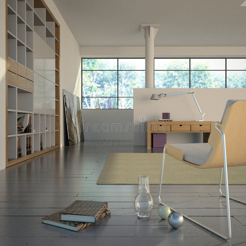 Modern Interior with books. Minimalist interior with Scandinavian feel, including large bookshelves and wood furniture vector illustration