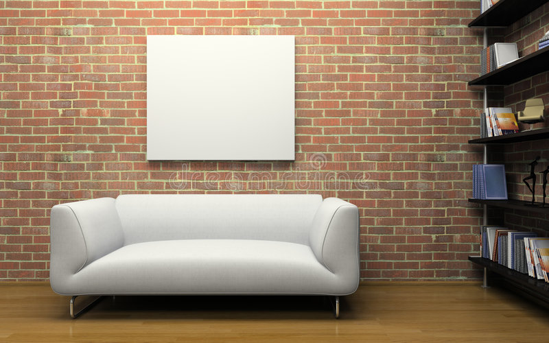 Download Modern Interior With Brick Wall Stock Illustration - Image: 5429905