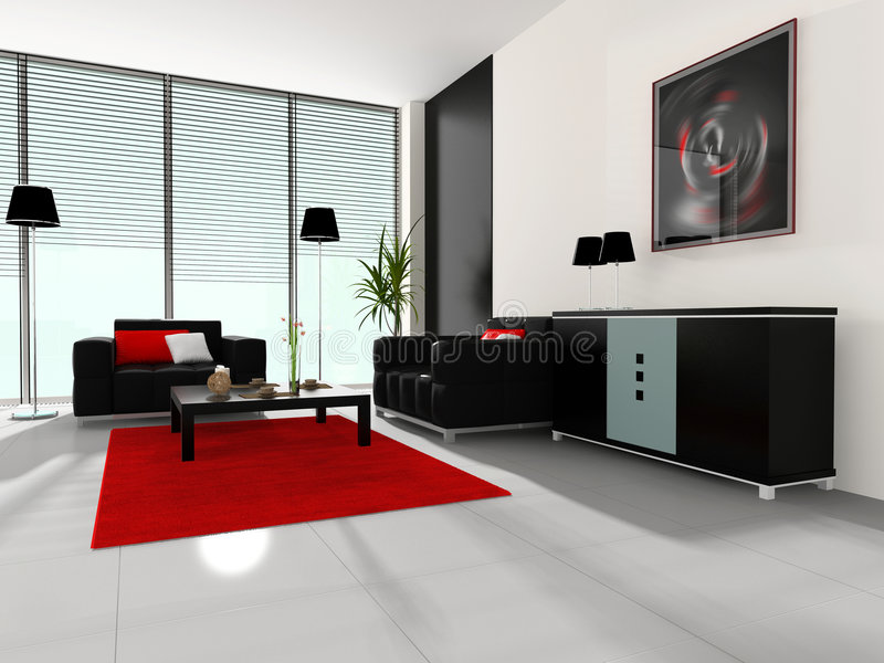 Modern interior of a cabinet royalty free illustration