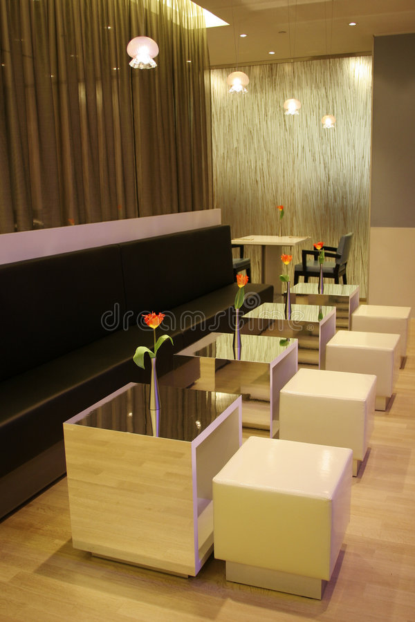 Modern interior of a cafe. Minimalistic interior of a cafe/bar royalty free stock photo