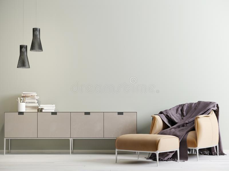 Modern interior with a chest of drawers and a chair in a modern style with empty wall. 3D rendering stock illustration