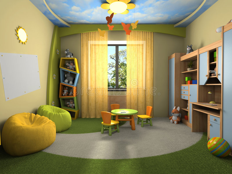 Modern interior of the childroom. 3D rendering vector illustration