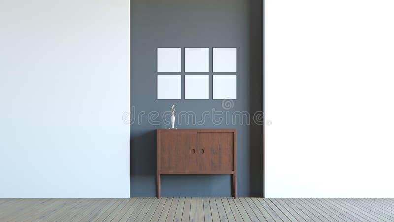 Modern interior composition of blank frame / 3d render image stock illustration
