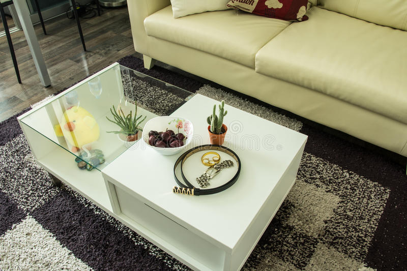 Modern interior decorated. With fashionable female accessories on table royalty free stock images