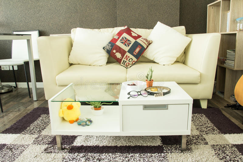 Modern interior decorated. With fashionable female accessories on table stock photos