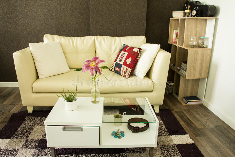 Modern interior decorated. With flower on table royalty free stock photography