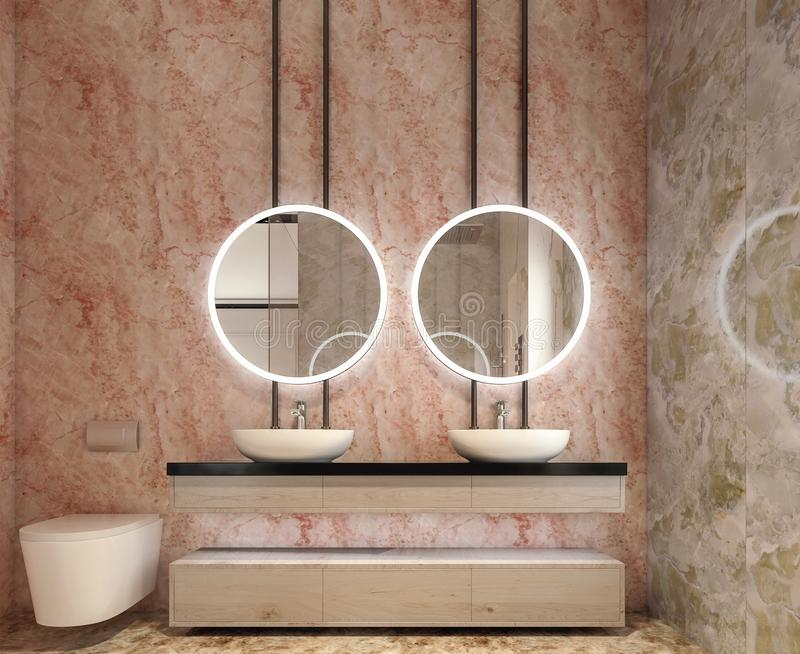 Modern interior design of bathroom vanity, all walls made of stone slabs with circle mirrors royalty free stock photo