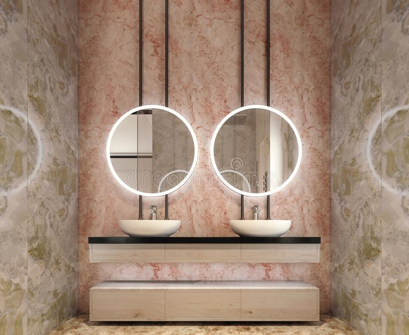 Modern interior design of bathroom vanity, all walls made of stone slabs with circle mirrors. Minimalistic and clean concept, 3d rendering royalty free stock image