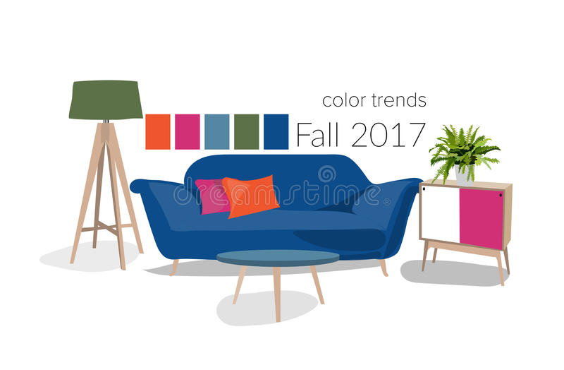 Modern interior design 2017. Color trends 2017 in interior design royalty free illustration