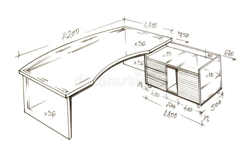 Modern interior design freehand drawing. royalty free illustration