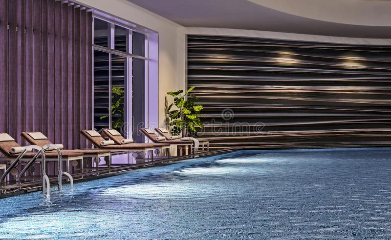 Modern interior design of indoor swimming pool with pool beds, night scene, hotel resort, spa, high contrast, dark, stock illustration