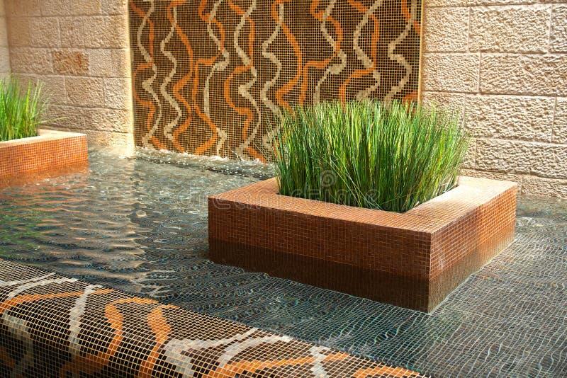 Modern Interior Design Indoors Waterfall Stock Image - Image of ...