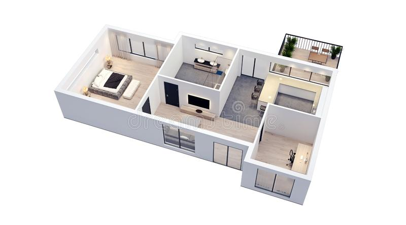 Modern interior design, isolated on white floor plan with white walls, blueprint of apartment, house, furniture, isometric,. Perspective view, 3d rendering stock illustration