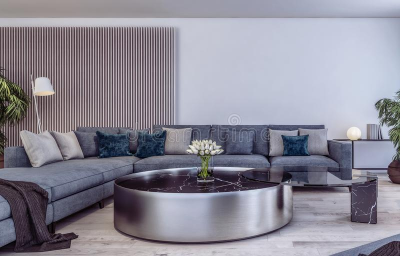 Modern Interior Design Of Italian Style Living Room Stock