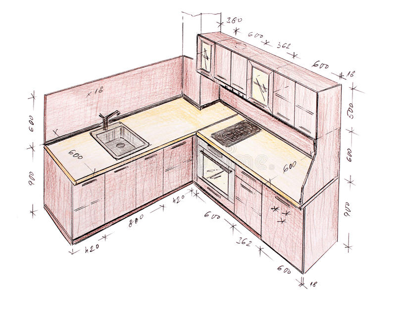 Modern Interior Design Kitchen Freehand Drawing Stock Illustration Illustration Of Freehand