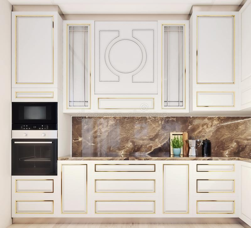 Modern interior design of kitchen, front view, close-up, stylish and elegant. Decorative, 3d rendering royalty free stock images
