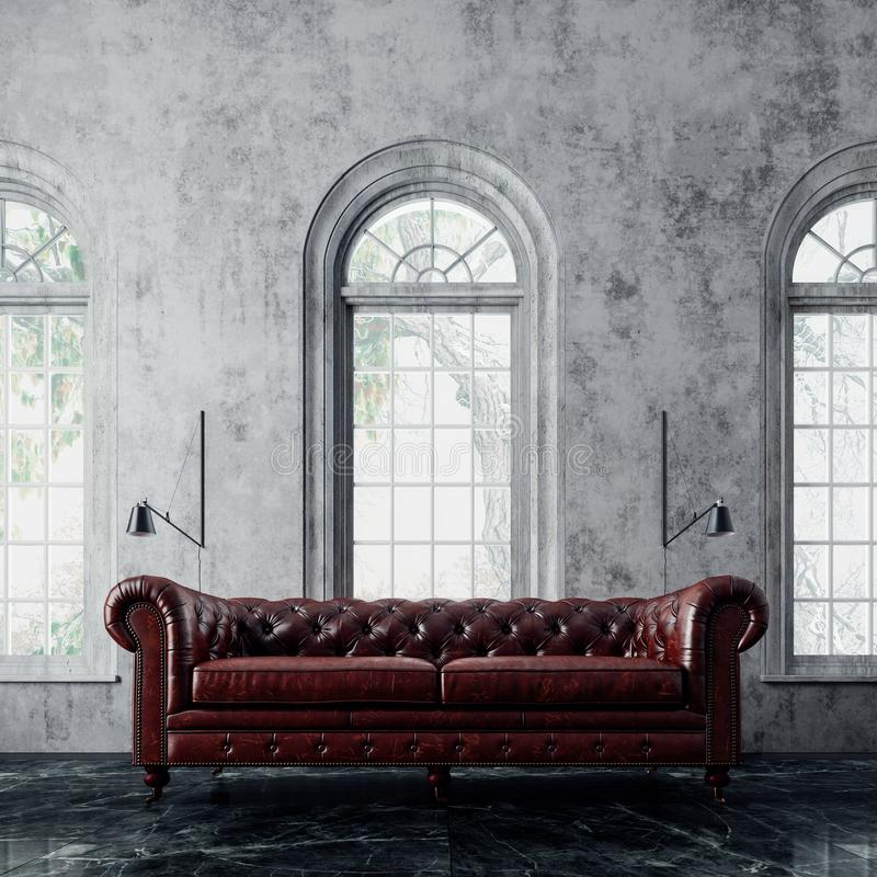 Modern interior design with leather sofa and arch windows stock illustration