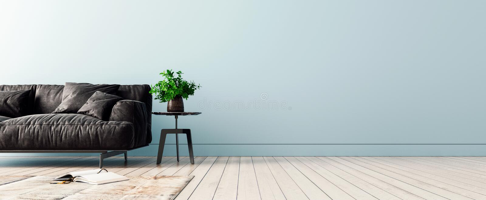 Modern interior design with light blue empty mock-up wall and black sofa stock illustration