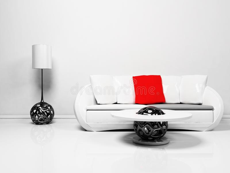 Modern interior design of living room royalty free illustration