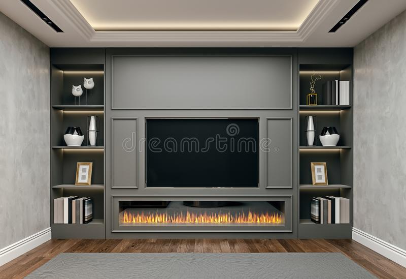 Modern interior design of living room in basement, close up view of tv wall with book shelves, stucco plaster,. Wooden flooring, 3d rendering vector illustration