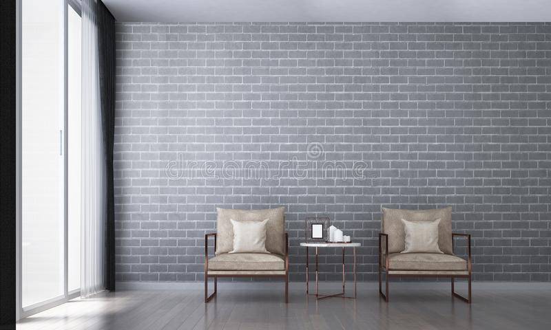 The modern interior design of living room and brick wall pattern. The modern interior design of living room and wall pattern background stock photography