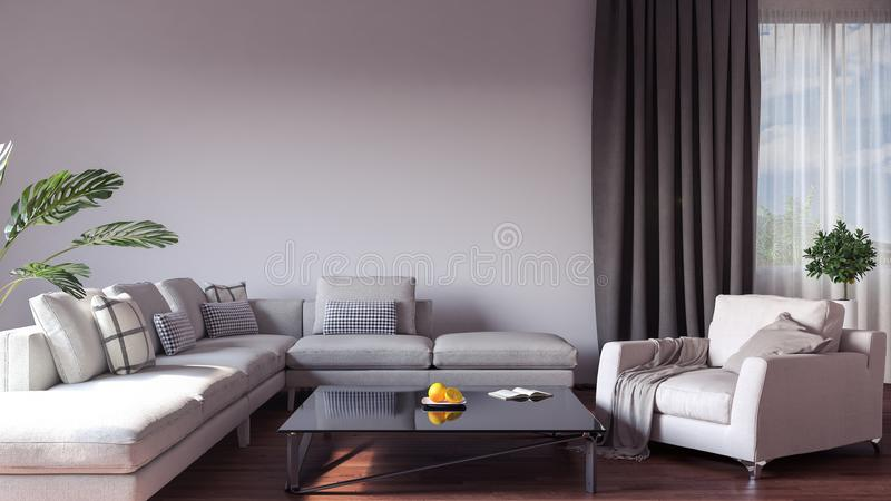 Modern interior design of living room stock illustration