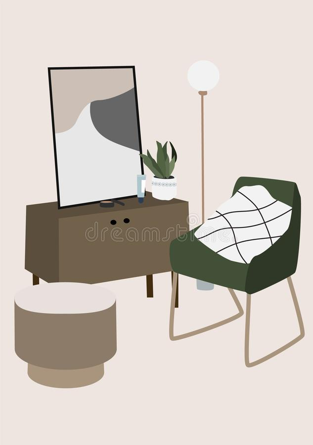 Modern interior design of Living room furniture: armchair, lamp, picture, flower, table. stock illustration